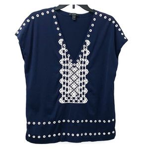 J. Crew Blue Tee With Embroidered Front